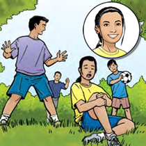 An illustration of a young girl sitting on the ground with a sports injury at a soccer game.
